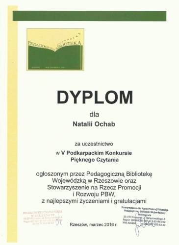 Dyplom Natalii